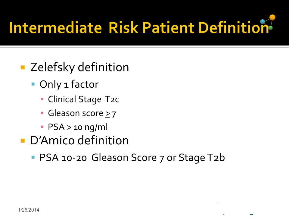 1/26/201421 Intermediate Risk Patient Definition Zelefsky definition Only 1 factor Clinical Stage T2c Gleason score > 7 PSA > 10 ng/ml DAmico definiti