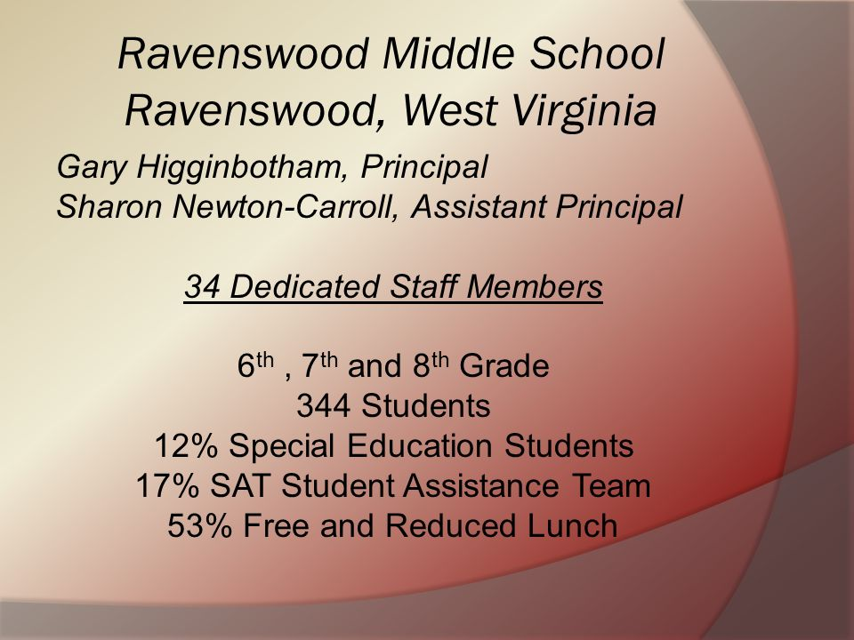 Ravenswood Middle School Ravenswood, West Virginia Gary Higginbotham, Principal Sharon Newton-Carroll, Assistant Principal 34 Dedicated Staff Members