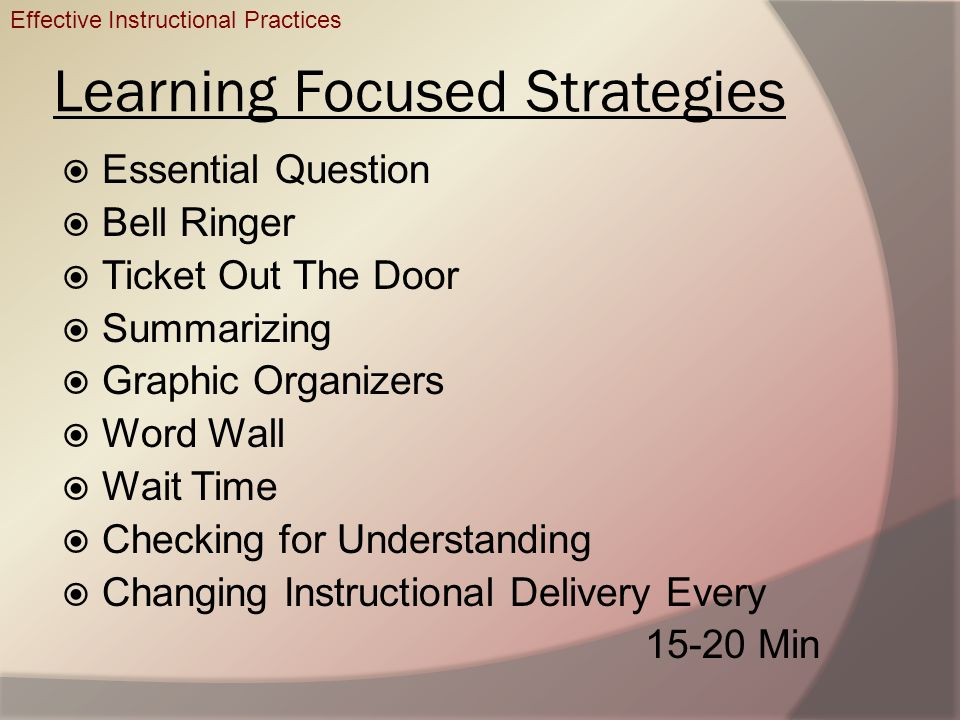 Learning Focused Strategies Essential Question Bell Ringer Ticket Out The Door Summarizing Graphic Organizers Word Wall Wait Time Checking for Underst