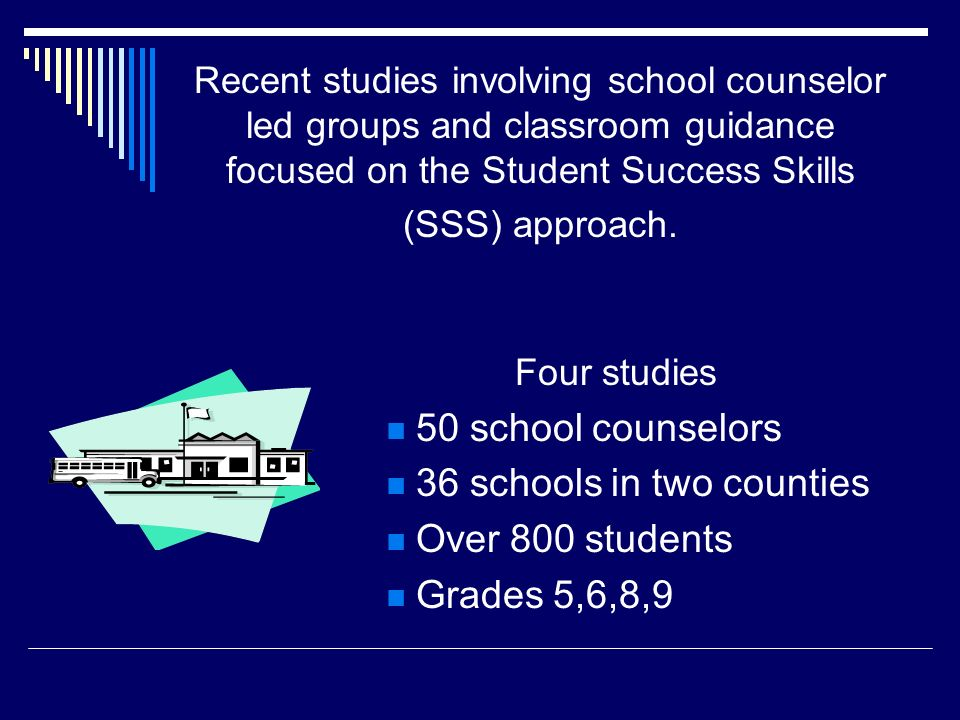 SSS Implementation A Good Investment Evidence based/research supported Cost of training is minimal when compared to tutoring programs staffed by certified teachers Reaches many students (with as little as a one- two hours per day commitment) 100 per year in small groups 600 per year in classroom guidance One time investment = long term gains $0 for continued implementation Year after year additional students are supported through the SSS program