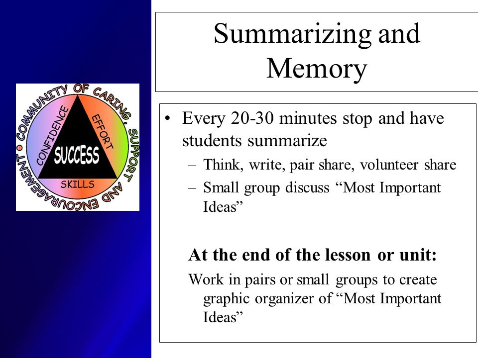 Summarizing and Memory Every 20-30 minutes stop and have students summarize –Think, write, pair share, volunteer share –Small group discuss Most Impor