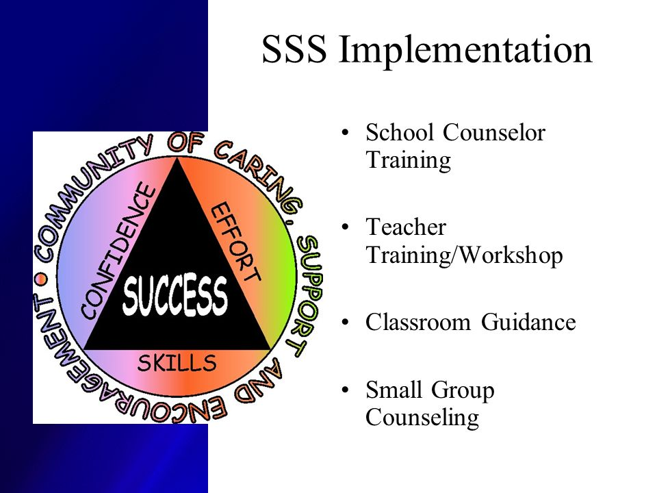 SSS Implementation School Counselor Training Teacher Training/Workshop Classroom Guidance Small Group Counseling