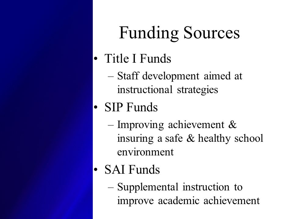 Funding Sources Title I Funds –Staff development aimed at instructional strategies SIP Funds –Improving achievement & insuring a safe & healthy school