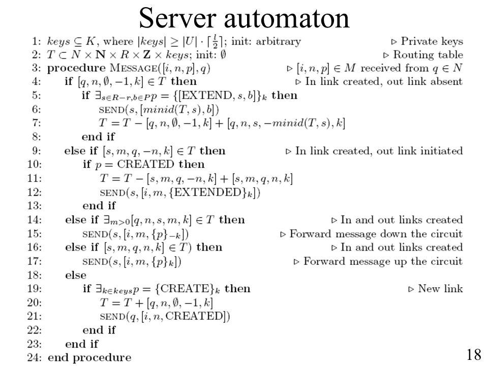 Server automaton 18