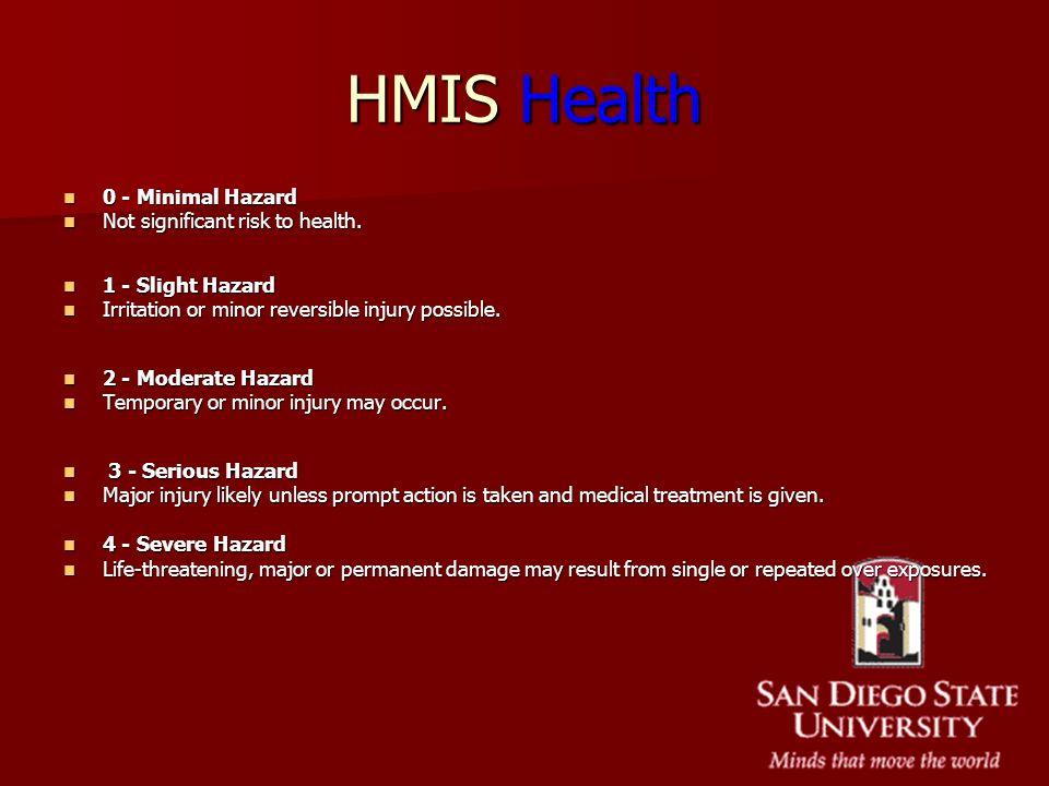 HMIS Health 0 - Minimal Hazard 0 - Minimal Hazard Not significant risk to health. Not significant risk to health. 1 - Slight Hazard 1 - Slight Hazard