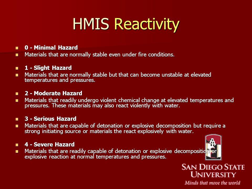 HMIS Reactivity 0 - Minimal Hazard 0 - Minimal Hazard Materials that are normally stable even under fire conditions. Materials that are normally stabl