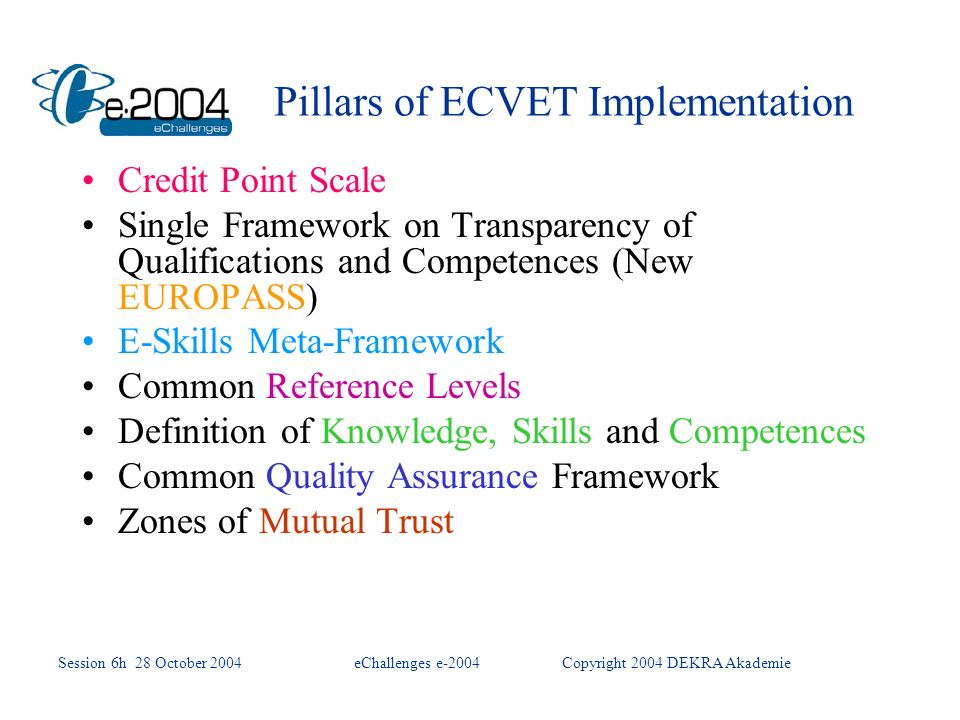 Pillars of ECVET Implementation Credit Point Scale Single Framework on Transparency of Qualifications and Competences (New EUROPASS) E-Skills Meta-Framework Common Reference Levels Definition of Knowledge, Skills and Competences Common Quality Assurance Framework Zones of Mutual Trust Session 6h 28 October 2004eChallenges e-2004Copyright 2004 DEKRA Akademie