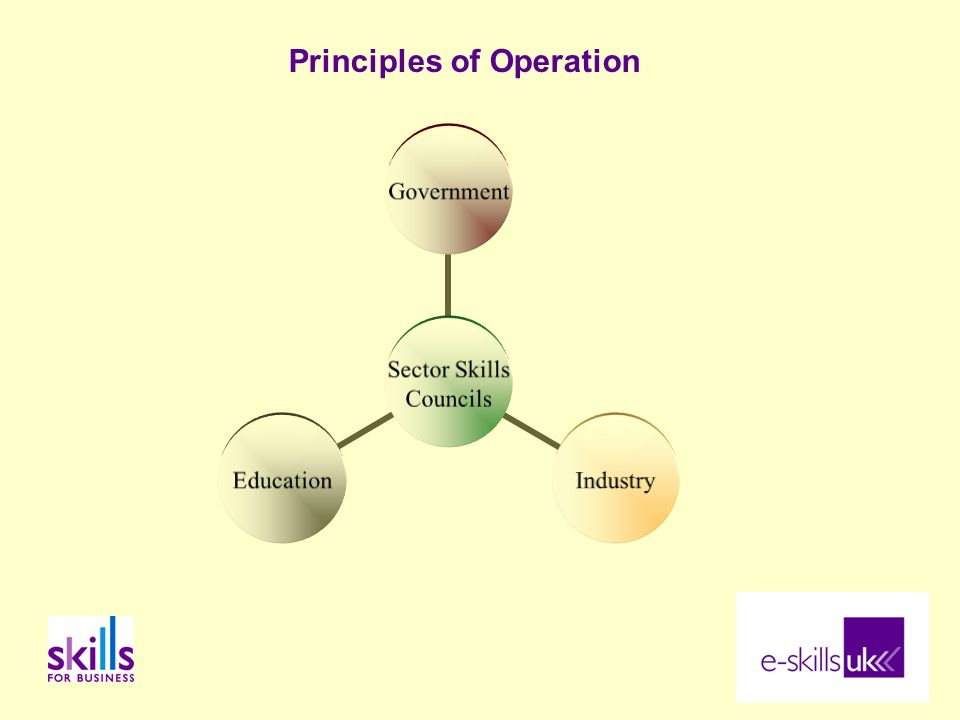 Principles of Operation Sector Skills Councils GovernmentIndustryEducation