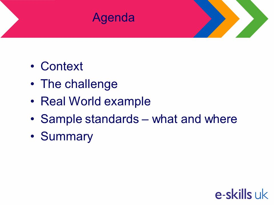 Agenda Context The challenge Real World example Sample standards – what and where Summary