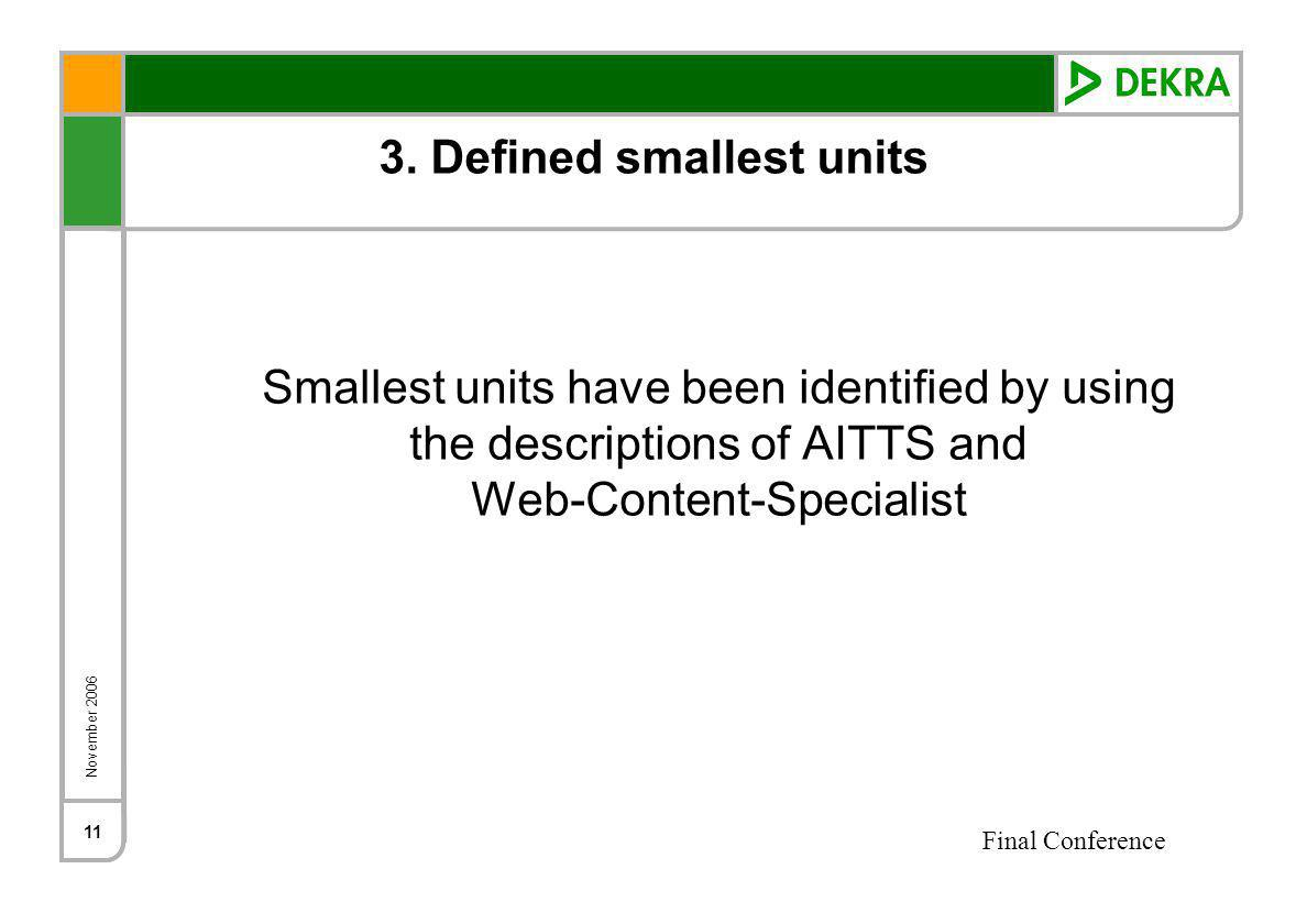 November 2006 Final Conference 11 3. Defined smallest units Smallest units have been identified by using the descriptions of AITTS and Web-Content-Spe