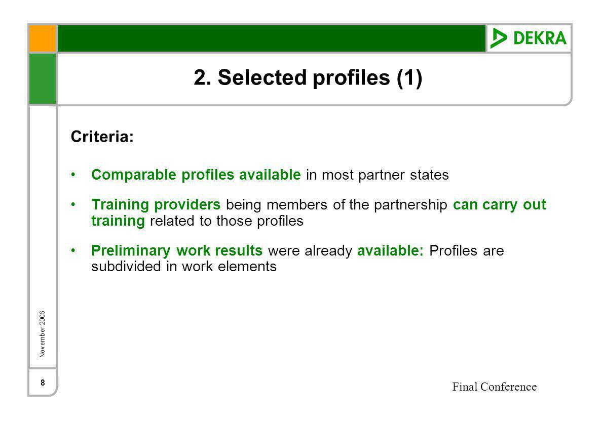 November 2006 Final Conference 8 2. Selected profiles (1) Criteria: Comparable profiles available in most partner states Training providers being memb