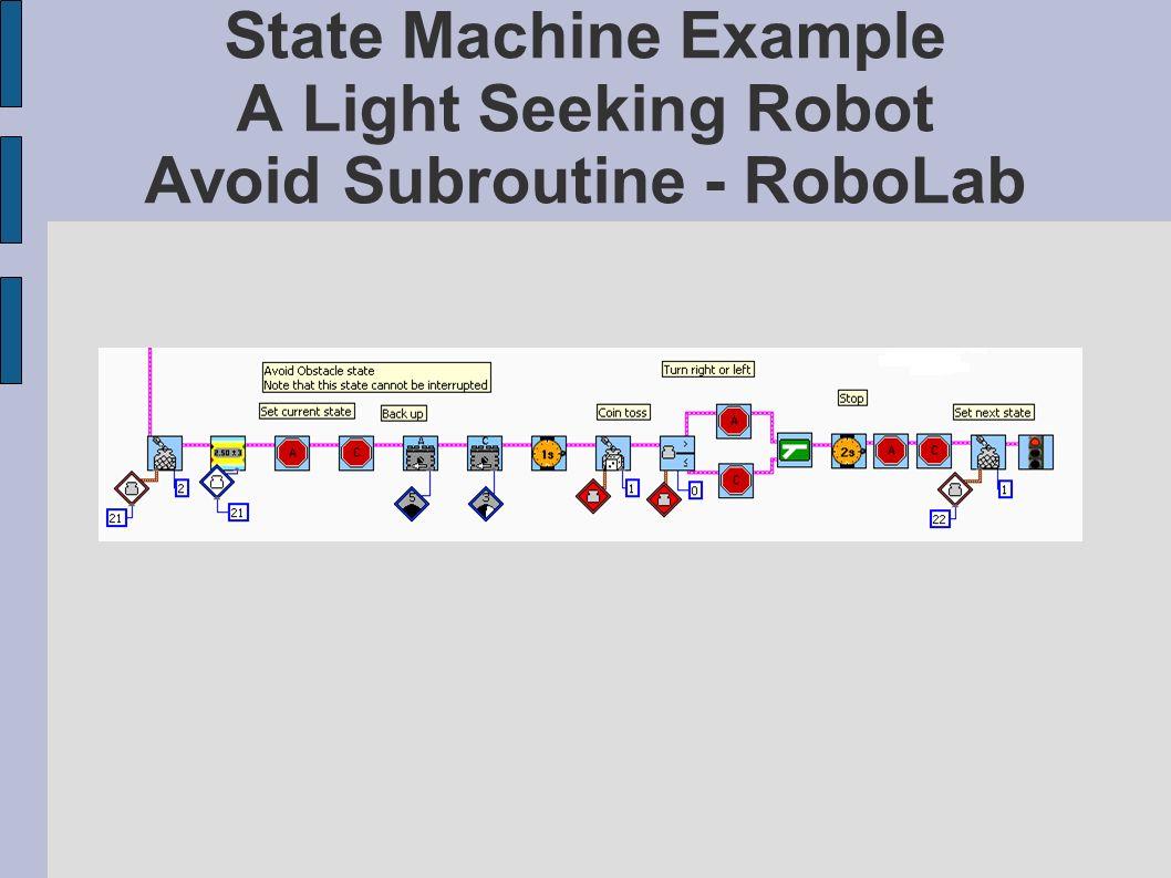 State Machine Example A Light Seeking Robot Avoid Subroutine - RoboLab