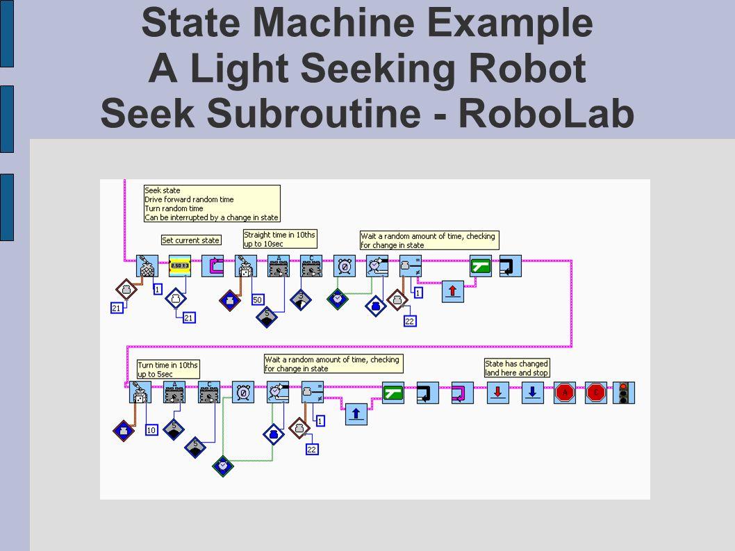 State Machine Example A Light Seeking Robot Seek Subroutine - RoboLab