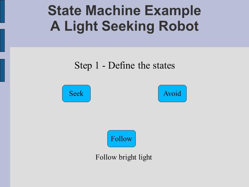 State Machine Example A Light Seeking Robot Step 1 - Define the states SeekAvoid Follow Follow bright light