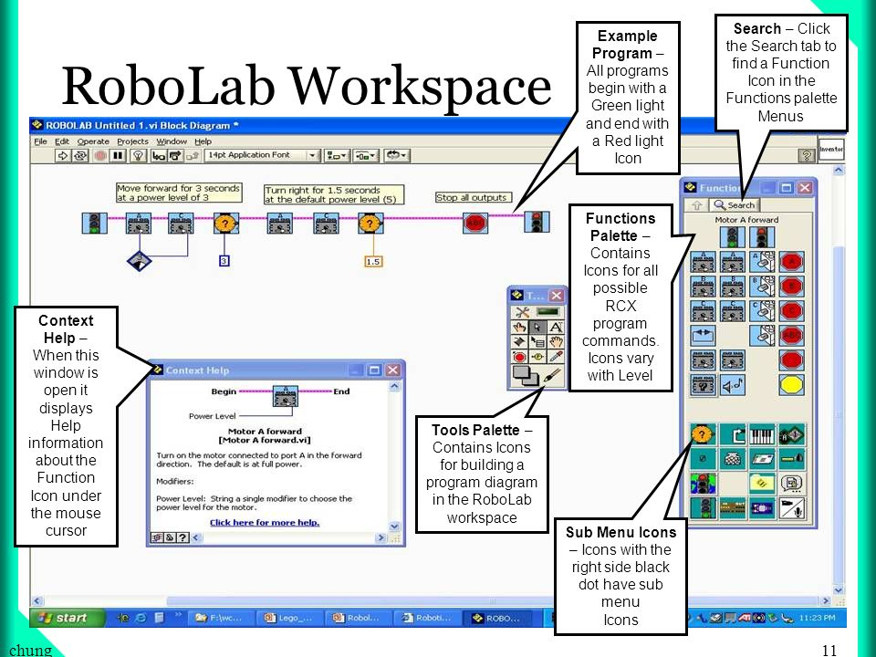 11chung RoboLab Workspace Functions Palette – Contains Icons for all possible RCX program commands.