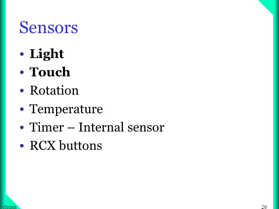 26chung Sensors Light Touch Rotation Temperature Timer – Internal sensor RCX buttons