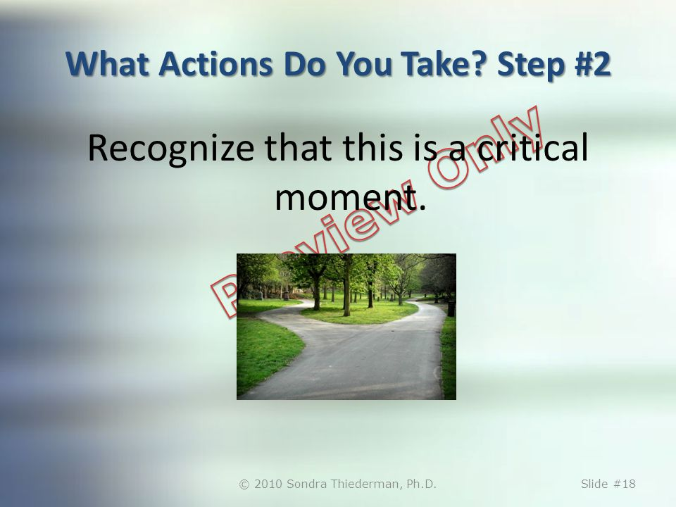 What Actions Do You Take? Step #2 Recognize that this is a critical moment. © 2010 Sondra Thiederman, Ph.D.Slide #18