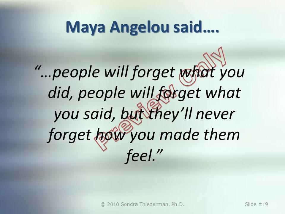 Maya Angelou said….
