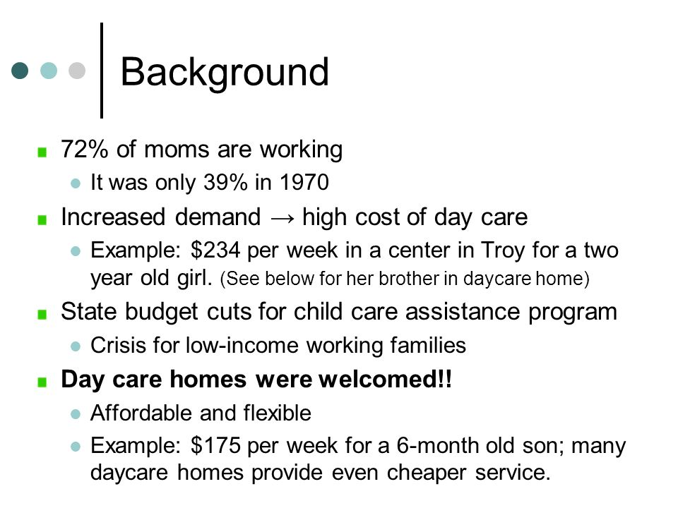 Background 72% of moms are working It was only 39% in 1970 Increased demand high cost of day care Example: $234 per week in a center in Troy for a two