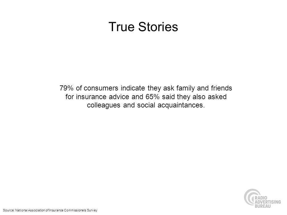 True Stories 79% of consumers indicate they ask family and friends for insurance advice and 65% said they also asked colleagues and social acquaintanc