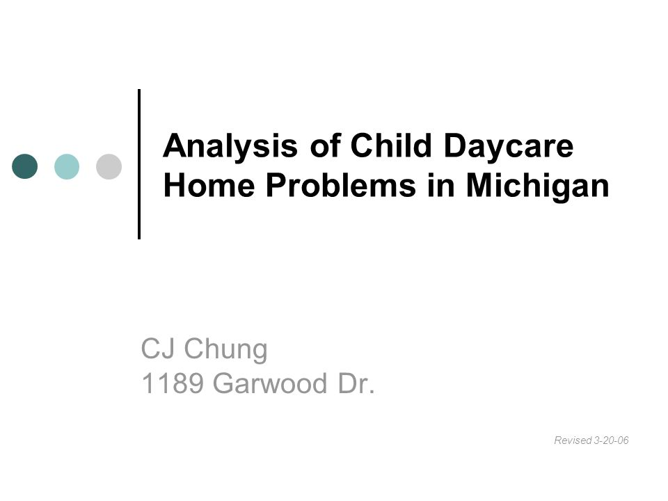 Analysis of Child Daycare Home Problems in Michigan CJ Chung 1189 Garwood Dr. Revised 3-20-06