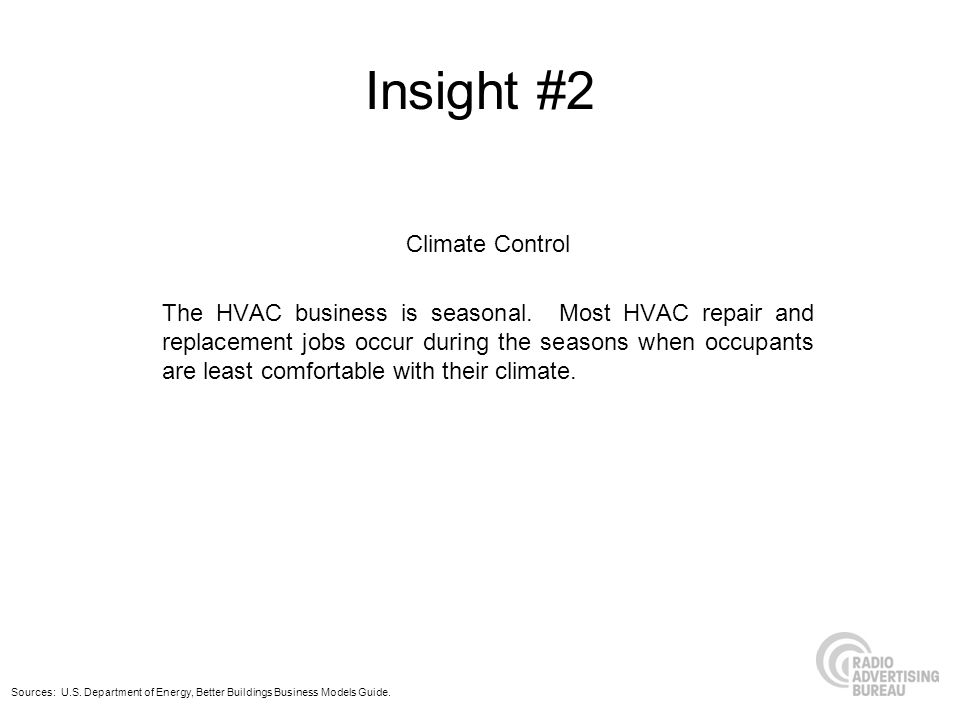 Insight #2 Climate Control The HVAC business is seasonal. Most HVAC repair and replacement jobs occur during the seasons when occupants are least comf