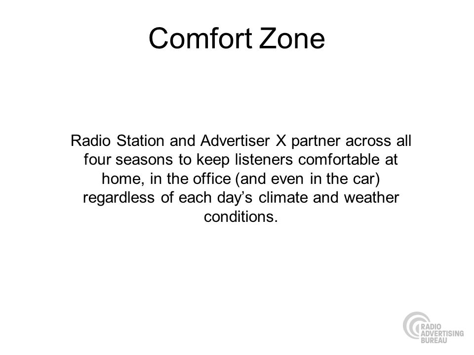 Comfort Zone Radio Station and Advertiser X partner across all four seasons to keep listeners comfortable at home, in the office (and even in the car)