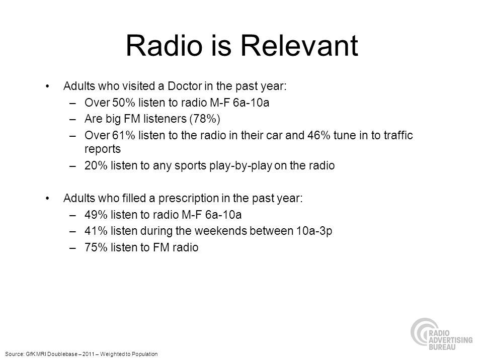 Radio is Relevant Adults who visited a Doctor in the past year: –Over 50% listen to radio M-F 6a-10a –Are big FM listeners (78%) –Over 61% listen to the radio in their car and 46% tune in to traffic reports –20% listen to any sports play-by-play on the radio Adults who filled a prescription in the past year: –49% listen to radio M-F 6a-10a –41% listen during the weekends between 10a-3p –75% listen to FM radio Source: GfK MRI Doublebase – 2011 – Weighted to Population