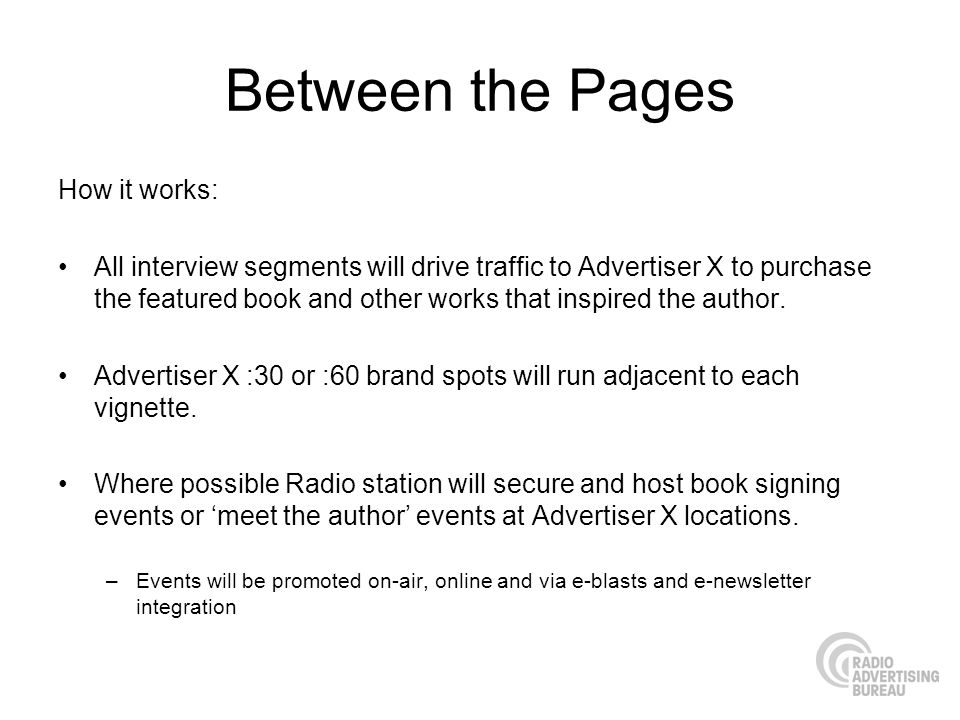 Between the Pages How it works: All interview segments will drive traffic to Advertiser X to purchase the featured book and other works that inspired the author.