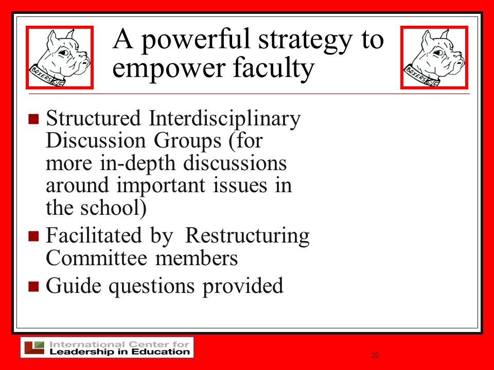 20 Structured Interdisciplinary Discussion Groups (for more in-depth discussions around important issues in the school) Facilitated by Restructuring Committee members Guide questions provided A powerful strategy to empower faculty