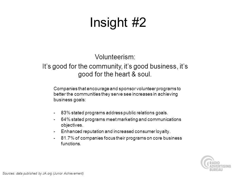 Insight #2 Volunteerism: Its good for the community, its good business, its good for the heart & soul.