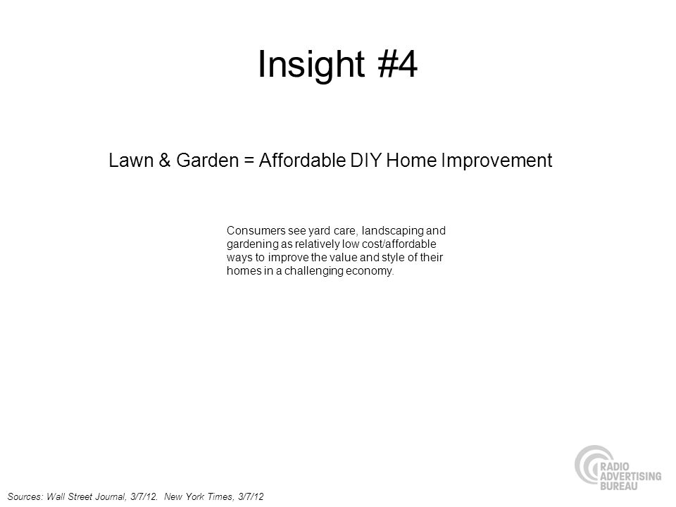 Insight #4 Lawn & Garden = Affordable DIY Home Improvement Sources: Wall Street Journal, 3/7/12.