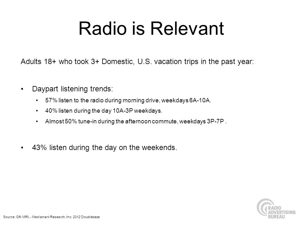 Radio is Relevant Adults 18+ who took 3+ Domestic, U.S. vacation trips in the past year: Daypart listening trends: 57% listen to the radio during morn