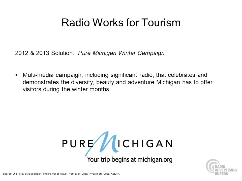 Radio Works for Tourism 2012 & 2013 Solution: Pure Michigan Winter Campaign Multi-media campaign, including significant radio, that celebrates and dem