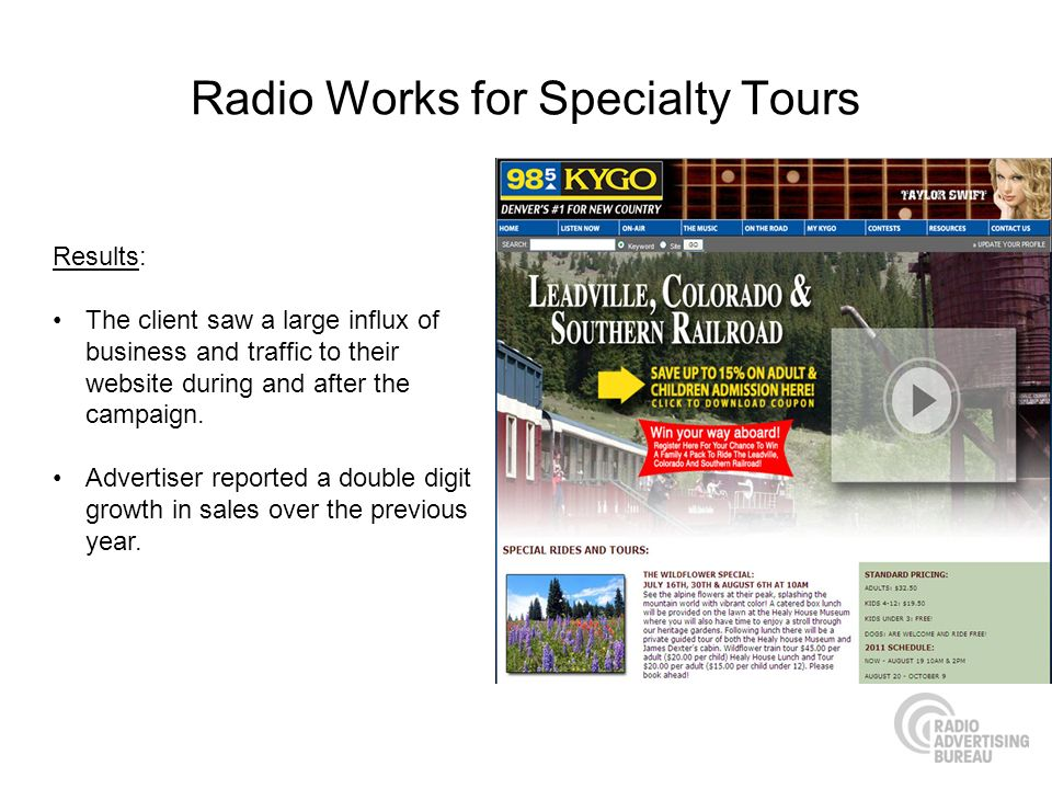 Radio Works for Specialty Tours Results: The client saw a large influx of business and traffic to their website during and after the campaign. Adverti