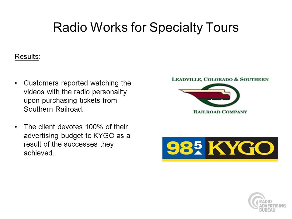 Radio Works for Specialty Tours Results: Customers reported watching the videos with the radio personality upon purchasing tickets from Southern Railr