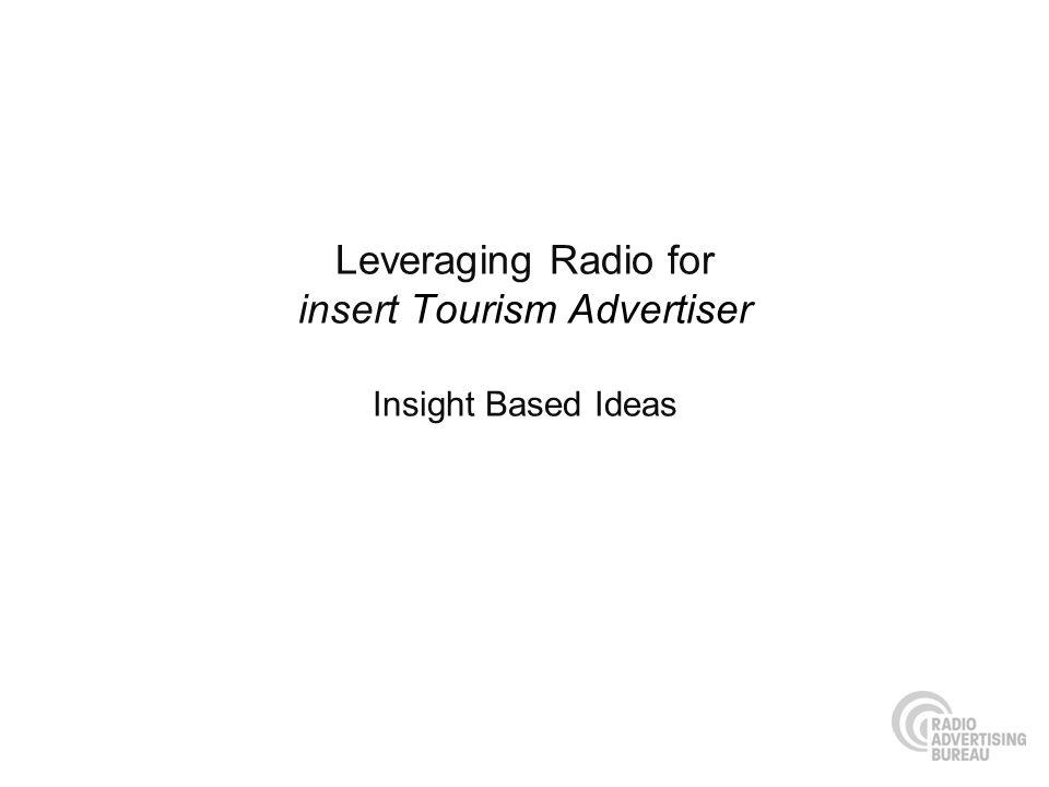 Leveraging Radio for insert Tourism Advertiser Insight Based Ideas