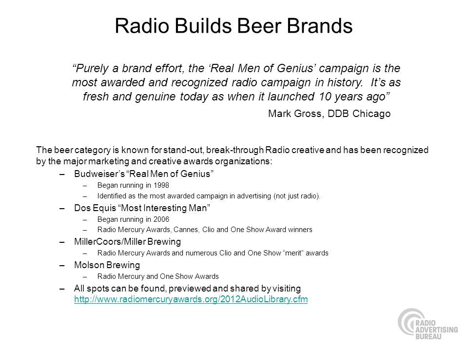 Radio Builds Beer Brands The beer category is known for stand-out, break-through Radio creative and has been recognized by the major marketing and creative awards organizations: –Budweisers Real Men of Genius –Began running in 1998 –Identified as the most awarded campaign in advertising (not just radio).