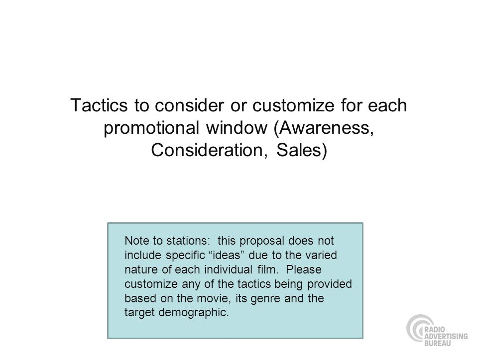 Tactics to consider or customize for each promotional window (Awareness, Consideration, Sales) Note to stations: this proposal does not include specif