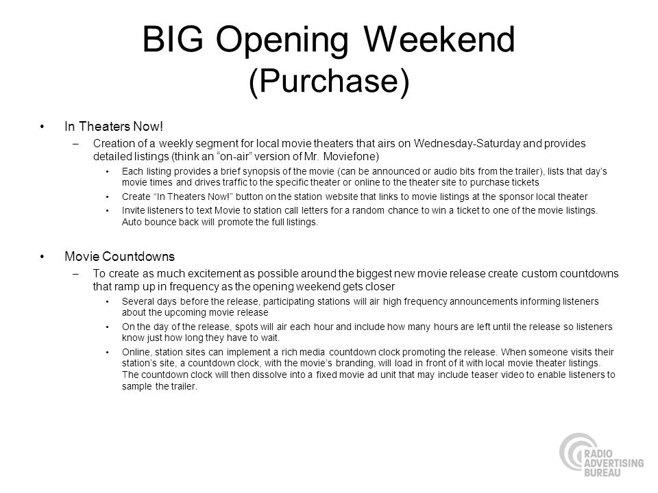 BIG Opening Weekend (Purchase) In Theaters Now! –Creation of a weekly segment for local movie theaters that airs on Wednesday-Saturday and provides de