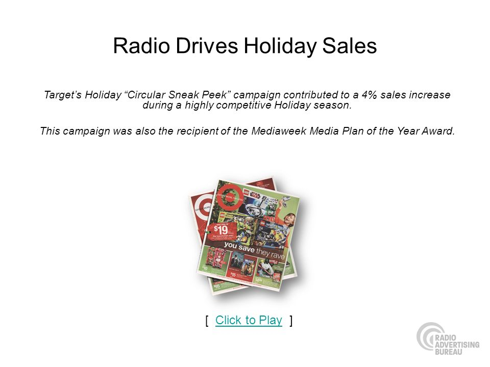 Radio Drives Holiday Sales Targets Holiday Circular Sneak Peek campaign contributed to a 4% sales increase during a highly competitive Holiday season.