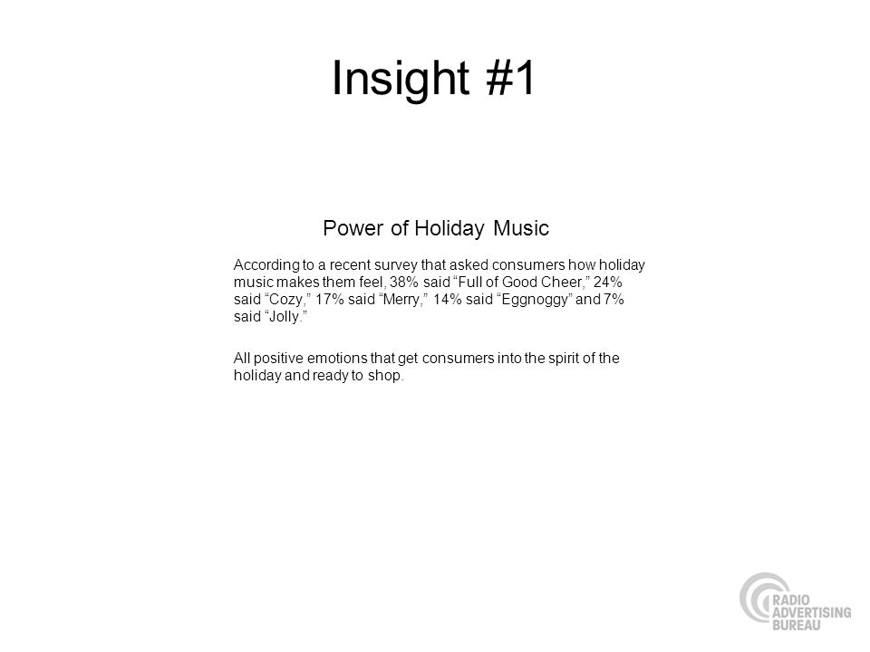 Insight #1 According to a recent survey that asked consumers how holiday music makes them feel, 38% said Full of Good Cheer, 24% said Cozy, 17% said M