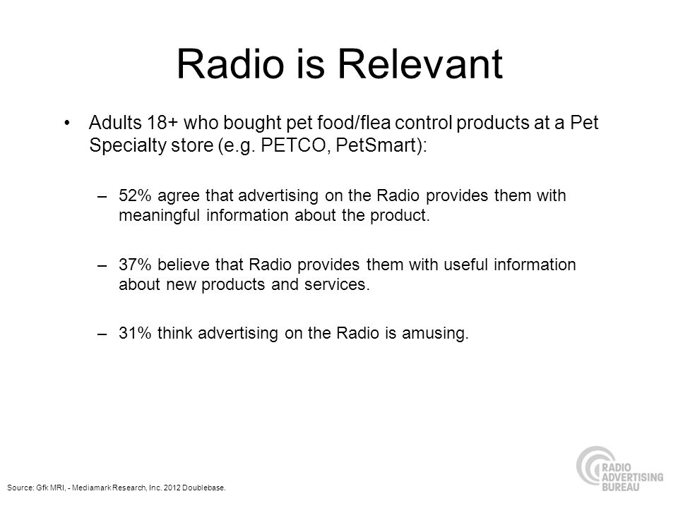 Radio is Relevant Adults 18+ who bought pet food/flea control products at a Pet Specialty store (e.g.
