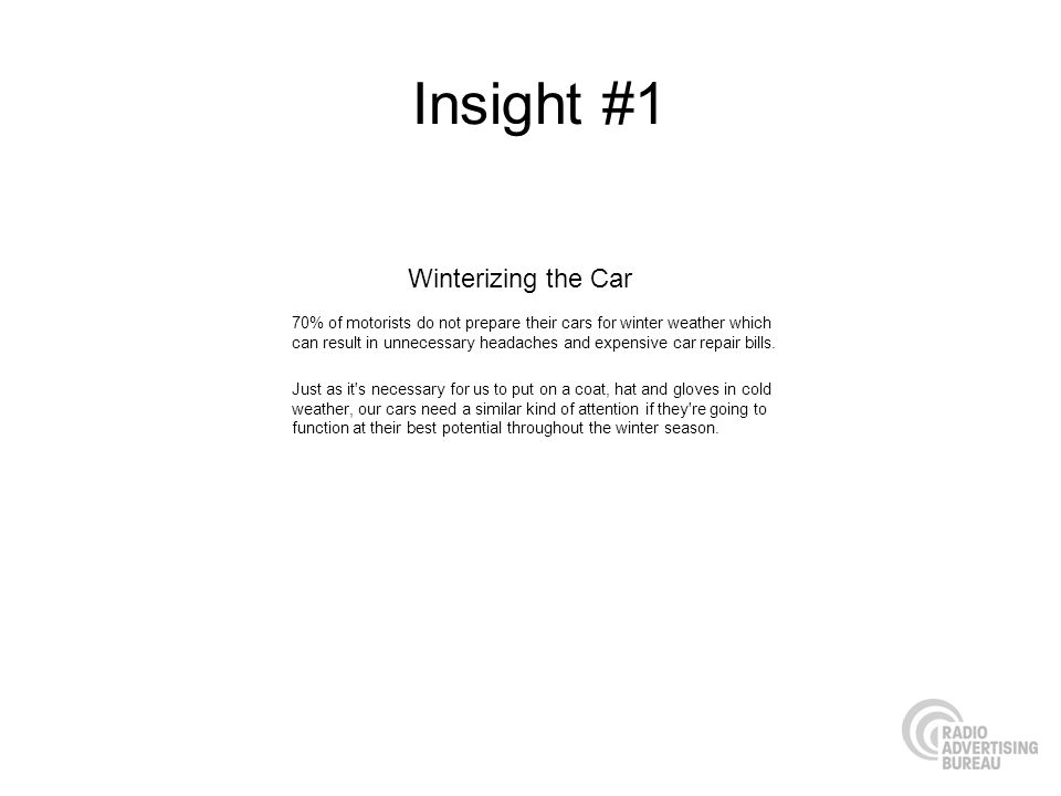 Insight #1 70% of motorists do not prepare their cars for winter weather which can result in unnecessary headaches and expensive car repair bills.