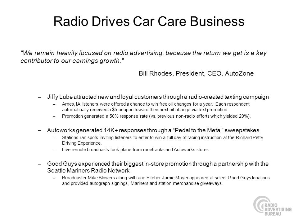 Radio Drives Car Care Business