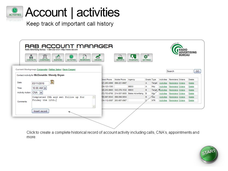 Account | activities Keep track of important call history Click to create a complete historical record of account activity including calls, CNAs, appo