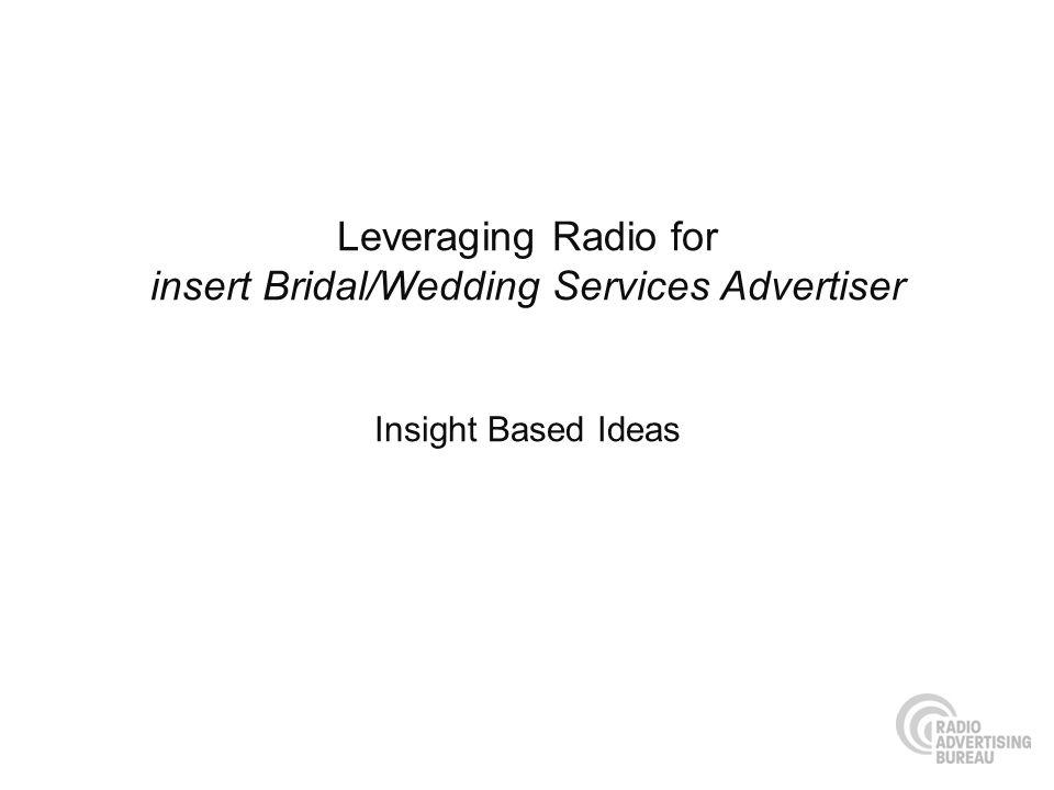 Leveraging Radio for insert Bridal/Wedding Services Advertiser Insight Based Ideas