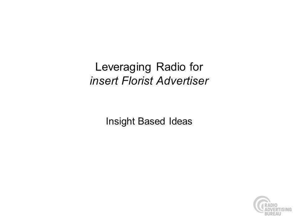 Leveraging Radio for insert Florist Advertiser Insight Based Ideas