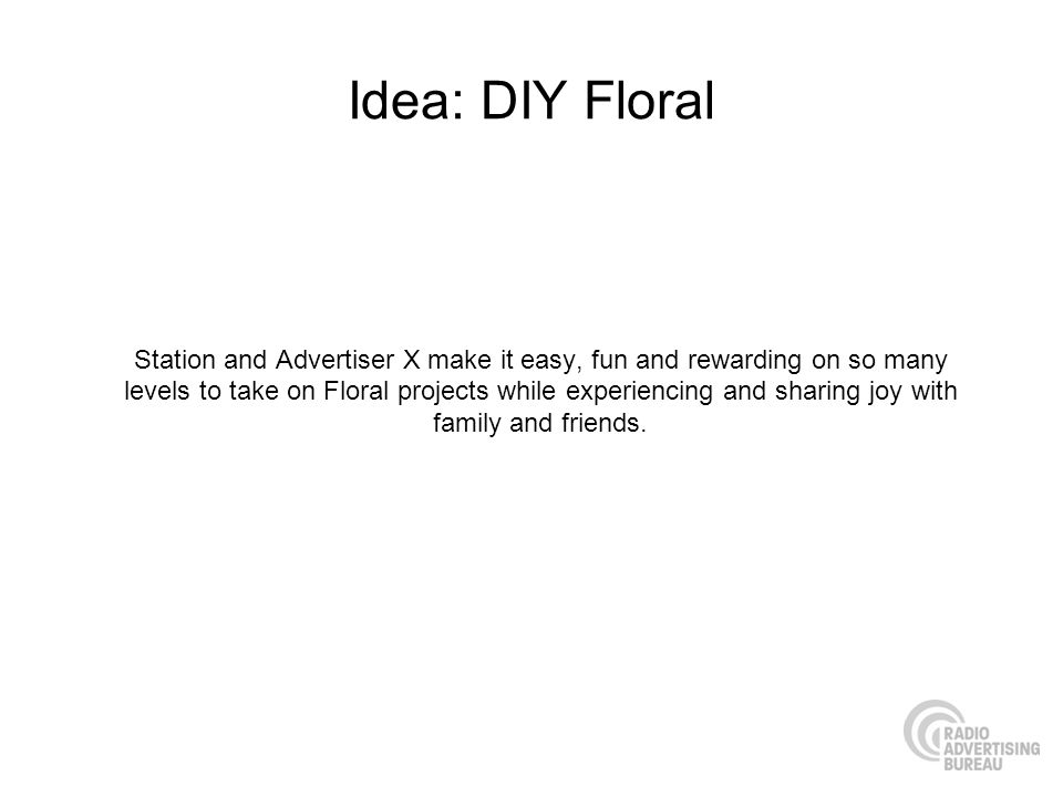 Idea: DIY Floral Station and Advertiser X make it easy, fun and rewarding on so many levels to take on Floral projects while experiencing and sharing