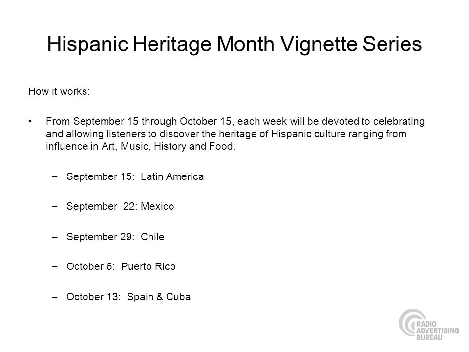 Hispanic Heritage Month Vignette Series How it works: From September 15 through October 15, each week will be devoted to celebrating and allowing listeners to discover the heritage of Hispanic culture ranging from influence in Art, Music, History and Food.